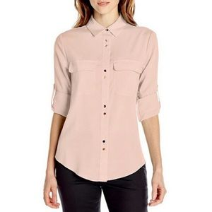Champagne Sheer Ivanka Trump Button Up Blouse